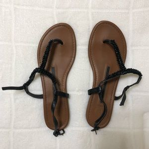 New Directions Black Sandals